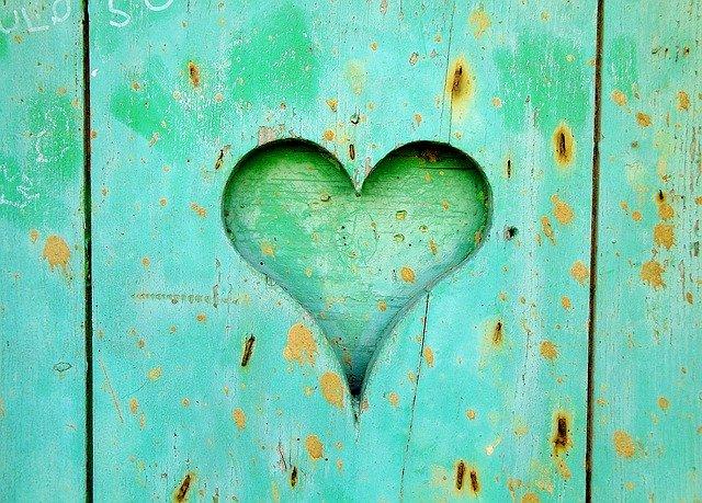 Srdce vyrezané na zelenom dreve
